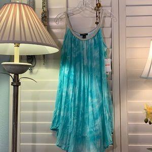 Chic, crinkle linen-like dress, cotton liner. XL